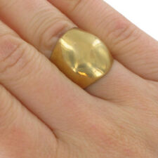 Large Brass Polished Wide Cocktail Ring Size 6.5