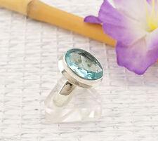 Ovale Echte Edelstein-Ringe aus Sterlingsilber mit Blautopas