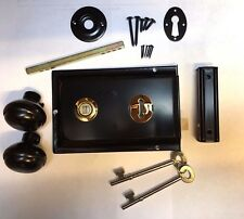 Satin Black Metal Rim sashlock Lock & Leva Porta Set Manopola Manopole SPINDLE Capanno