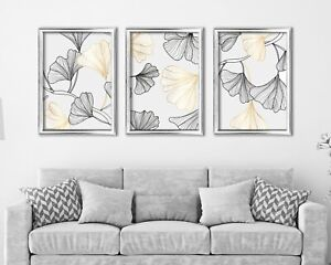 Botanical Abstract Flower Print Set Of 3, White, Black, Gold Contemporary Prints