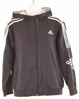 ADIDAS Boys Hoodie Sweater 11-12 Years Medium Black Cotton  EB13