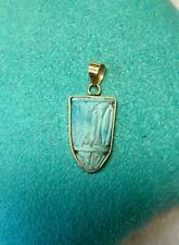 Ancient Egyptian Turquoise Lotus Amulet Pendant 14K Gold