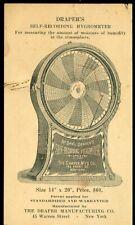 Adv. Trade Card Draper's Self-Recording Hygrometer c1910