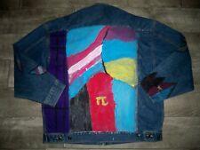 Vintage Blue Pointe Hand Painted Abstract Wearable Art Denim Jean Jacket Men XXL