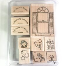 Stampin Up WINDOW DRESSING 10pc RUBBER INK STAMP SET Gently Used 2008