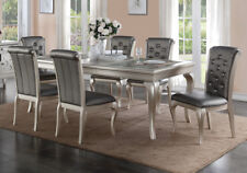 7 pcs Dining Set Rectangular Table Glass Top Leaf Tufted Side Chairs Silver Pu