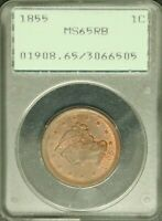 1855 1C PCGS MS-65 Red Brown Upright 55 Braided Hair Large Cent Coin OGH #6505