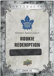 2020-21 Upper Deck Artifacts Hockey Rookie Redemption Toronto Maple Leafs