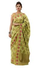 Women Cotton Silk Saree With Blouse Piece Green Color Party Wear Saree Wrap