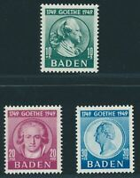 BADEN FRENCH OCCUPATION Mi. #47-49 mint stamp set! CV $19.25