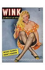 Pin Up Girl Poster 11x17 Wink Magazine cover art June Nylons Stockings