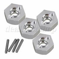 4pcs AX31015 12mm Wheel Hex Mount+Pin for Axial Yeti RC1:10 Model Car Silver