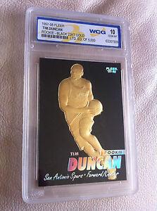 """""""RARE"""" TIM DUNCAN 1997-98 FLEER 23KT GOLD """"BLACK"""" WCG GEMMT 10 ROOKIE CARD"""