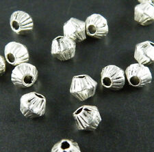 300pc ZN873 Tibet Silver Little Bicone Bead Spacers 4x4mm