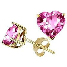 1.00 - 3.00 CT 14K Y GOLD PLATED OVER SILVER HEART ROSE SAPPHIRE STUD EARRINGS