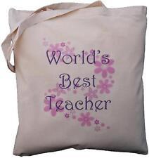 WORLD'S BEST TEACHER - NATURAL COTTON SHOULDER BAG - Floral design - Gift