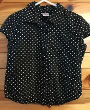 Gymboree Girls Poppy Love Black Polka Dot Button Down Top Shirt Size 5