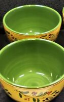 HD Designs Deep Cereal Bowls x2 Yellow Green Floral