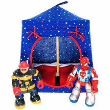 Royal blue, star print Toy Pop Up Fabric House, 2 Sleeping Bags, handmade