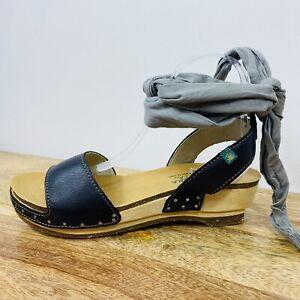 El Naturalista Hayashi Sandals Black Leather Wooden Boho Ankle Strap Size 39