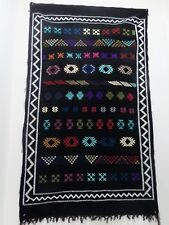 Moroccan Carpet Black Color hand-woven Berber Tribal by pure material weaves