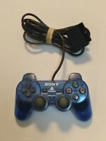 OEM Sony PlayStation 2 Wired Dualshock 2  Analog Contoller Clear Blue SCPH-10010
