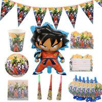Dragon Ball Z Goku Birthday Party Supplies Tableware Plates Cups Decor Balloon