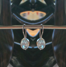 346 Blue Topaz Solid 925 Sterling Silver Faceted Gemstone Earring rrp $49.95