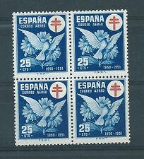 ESPAÑA 1950 EDIFIL 1087** BLOQUE DE 4 CORREO AÉREO CRUZ DE LORENA