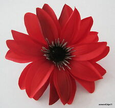 """4.75"""" Fire Red,Black Water Lily Poly Silk Flower Hair Clip,Pin Up,Updo,Hat"""