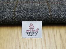 Harris Tweed Dark Grey Herringbone Check Remnant - 55.5cm x 26.5cm with Label
