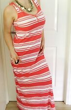 TOMMY HILFIGER WOMENS DRESS MAXI LONG STRIPED COTTON MODAL RED WHITE SZ L