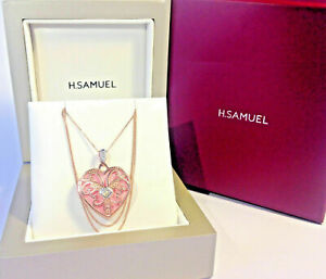 Beautiful 9 ct Rose Gold Locket with diamond detail - H Samuel - Boxed Like new