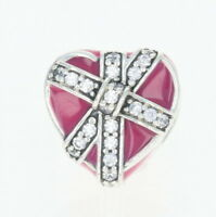 NEW Authentic Pandora Gifts of Love Charm - Sterling Magenta Heart 792047CZ Retd