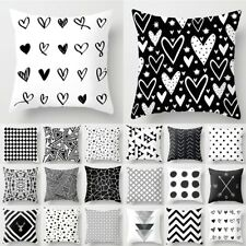 Pillow Case 18'' Geometric Cushion Cover Black And White Polyester Throw Square