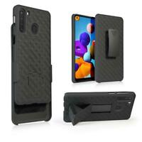 Samsung Galaxy A21 Shell Holster Combo Case with Kick-Stand & Belt Clip