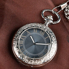Luxury Carving Gray Dial Automatic Mechanical Men Women Pocket Watch Chain Gift
