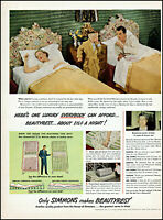 1949 Married couple twin beds Simmons Beautyrest vintage photo print Ad adL41