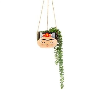 Sass & Belle Frida Kahlo Boho Fiesta Hanging Planter Plant Flower Pot Holder