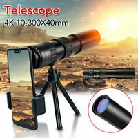 10-300X40mm 4K Super Telephoto Lens Zoom Monocular Telescope Waterproof Portable