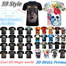 Men's Casual 3D Skull Printed Cool Ugly T-Shirt Crew Neck Short Sleeves Tops Tee