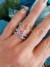 💖Pink Diamond Simulant Wedding Set, High Polished Titanium, Size 6