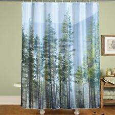 Majestic Pine Forest Scene Fabric Bathroom Shower Curtain