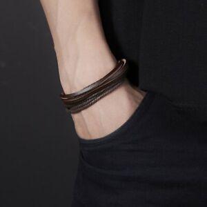 Handmade Punk Mens Leather Braided Surfer Wristband Bracelet Bangle Wrap Gift