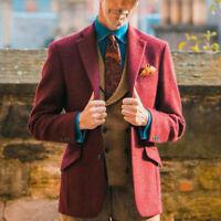 Wool Blend Men Notch Jacket Vintage Tuxedo Burgundy Coat Party Wear Tailored Fit