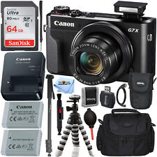 Canon PowerShot G7 X Mark II Digital Camera + EXT BATT + 64GB Tripod Bundle