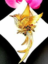 GORGEOUS MARCEL BOUCHER GOLDTONE MULTICOLORED RHINESTONE BIRD OF PARADISE BROOCH