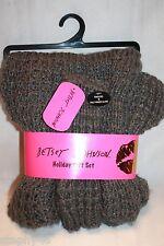 NEW! BETSEY JOHNSON Gray Shimmer Chunky Knit Snood & Fingerless Texting Gloves