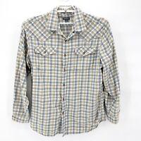 EDDIE BAUER Mens Cotton Plaid Pearl Snap Western Shirt Yellow Blue Sz L