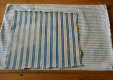 Antique Primitive Farmhouse Cabin Indigo Blue Ticking Fabric ~2  for projects